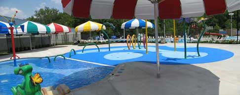 view of splashpad from back