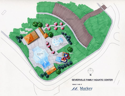 master plan for 25-meter pool and sprayground (water playground)