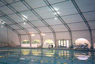 Clamshell style cover to convert to indoor pool.